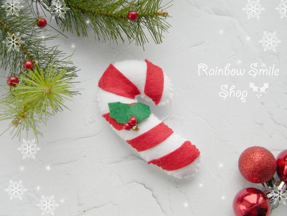 Candy Cane Christmas Decorations Custom Felt Christmas Ornament Felt Candy Cane Christmas Ornament Inspiration Design