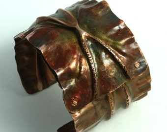 Statement Rainbow Copper Fold-Formed Wide Cuff Bracelet