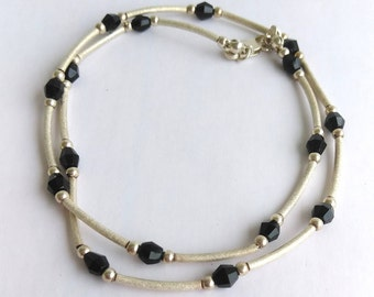 """Tin Cup Onyx  925 Sterling Silver Choker Necklace, Layering Sterling Silver Choker Black Onyx Necklace 16"""" Sterling Tube Beaded Necklace"""