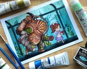Bioshock Big Daddy and Little Sister Watercolor PRINT by Michelle Coffee