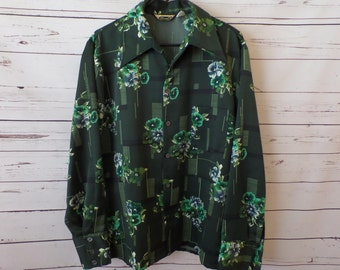 Triumph Large Long Sleeve Emerald Green Floral Polyester Retro Mod Disco Shirt