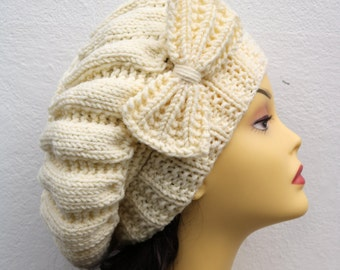 Cream Woman Hand Knitted Hat with Bow, Cream Beret hat with bow, Cream knit hat, slouchy knit women's hat with bow, winter hat, Cream