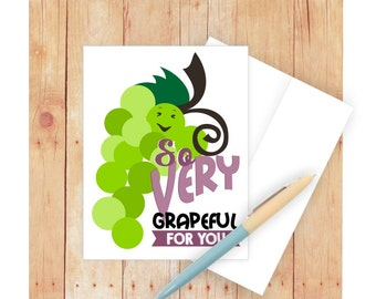 Thank You Card, So Grapeful for You, Pun Art, Thank You Note Cards, Blank Thank You Card Set, Food Pun, Thank You Note Card, Appreciation