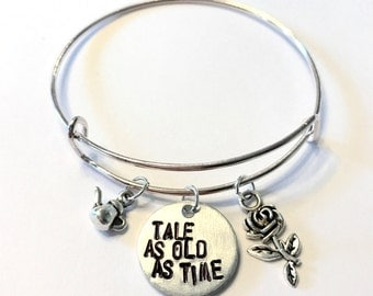 "Beauty and the Beast Inspired Stamped Charm Bangle - ""Tale as Old as Time"""