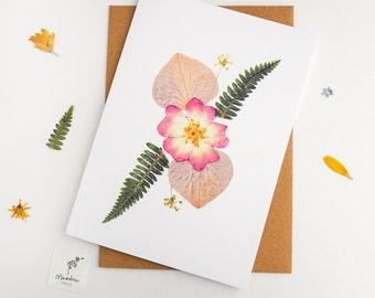 Floral card, pressed flower greeting card, printed floral design