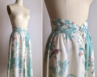 70s cotton skirt S ~ vintage bird novelty print skirt