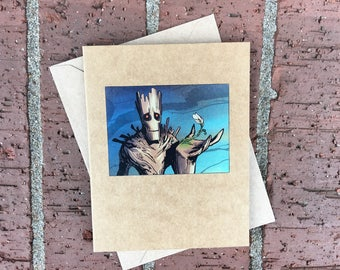 Marvel Groot With Flower (Guardians of the Galaxy)  Comic Book Greeting Card (Blank)