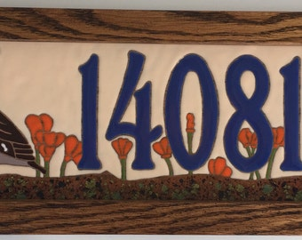 Quail with Poppies Address Tile