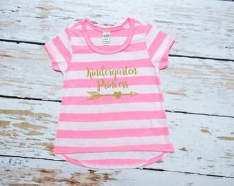 Toddler Girl Kindergarten Princess | Toddler Back to School | Kindergarten Girl Shirt | Hello Kindergarten | Preschool Graduate Girl | 284