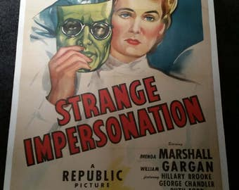 Original 1946 Strange Impersonation One Sheet Linenbacked Movie Poster, Anthony Mann, Noir, Beautiful Art