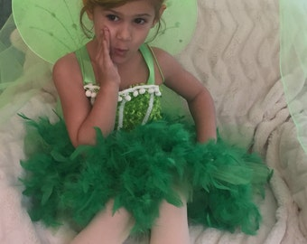 Green fairy tutu dress, tinkerbell inspired dress, green fairy dress, fairy birthday tutu feather dress
