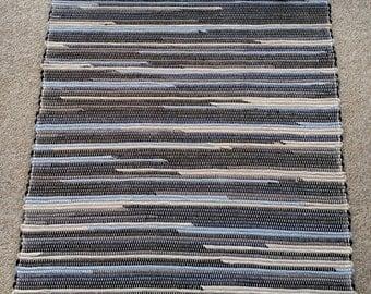 Hand Woven Corduroy Rag Rug - Recycled corduroy. Country Corduroy. #1614