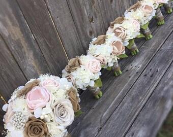 Rustic Elegance Bouquet, Blush Bouquet, Burlap Bouquet, Rustic Bouquet, Rustic Brooch Bouquet,