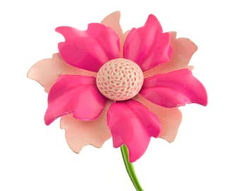 Hot Pink Flower Brooch