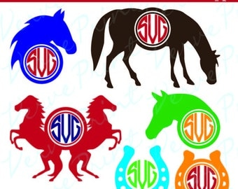 Horse SVG Horse Monogram Svg, Ai, Eps, Pdf Monogram Silhouette, Horse Monogram Frames Svg Horse Cut Files SVG Cutting file, Commercial use