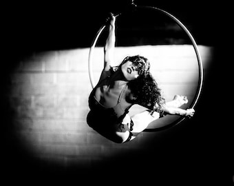 Mask, Aerial, Aerialist, Cerceau, Lyra, Hoop, Circus, Performance, Giclée Print, Archival, Photograph, Black and White, Glossy