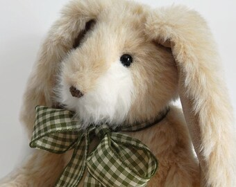 Hopper - Stuffed Plush Bunny Rabbit, plush stuffed bunny rabbit, faux fur bunny doll, stuffed animal, faux fur plushie, collectible rabbit