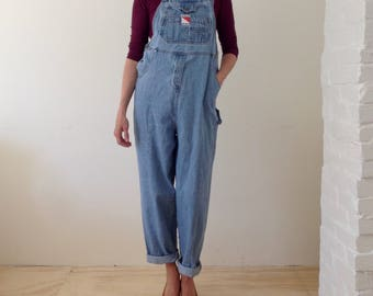 vintage 90's denim bib overalls coveralls denim dungarees relaxed fit slouchy