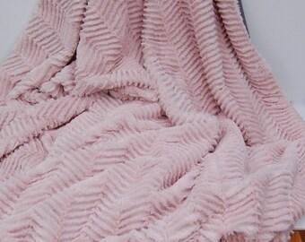 Blush Minky Throw, Soft Waterproof Picnic Blanket