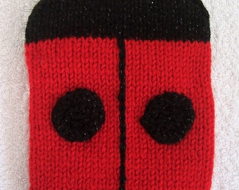 Hand Knitted Red Ladybird Kindle Cosy / Two Spot Ladybug Kindle Cover / Kindle Case