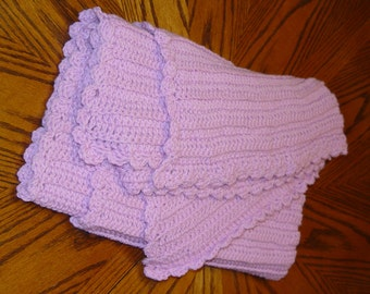 Lovely Lavender Heirloom Baby Blanket