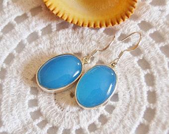 Gemstone earrings blue chalcedony silver earrings sterling silver chalcedony earrings sky blue dangle earrings silver jewelry gift for her
