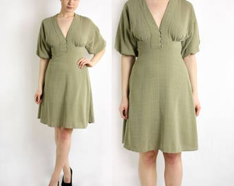 Vintage 80's 90's Olive Green A-Line Dress Puffy Sleeves, Peasant Midi Dress