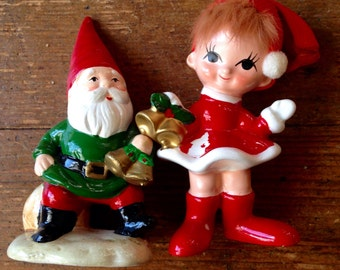 1950's 2 pack of Bone China Figures. Christmas Gnome and Child with Bells. Made in Japan / Sri Lanka. Lefton and Josef Originals
