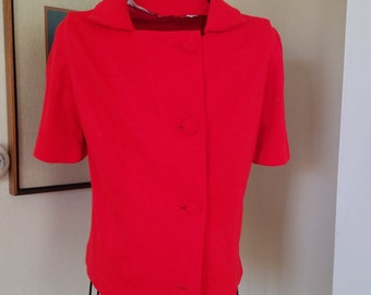 Vintage Vivid Red Top Blouse Jacket