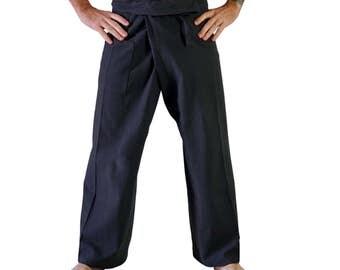 THAI FISHERMAN PANTS Dark Grey - Renaissance Festival, Medieval, Pirate, Yoga Pants, 100% Cotton, Harem Pants, Peasant, Burning Man
