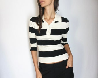 Wide striped knit polo / XS / black and ivory cream top collared half sleeve knitwear classic preppy simple pristine Classiques Entier