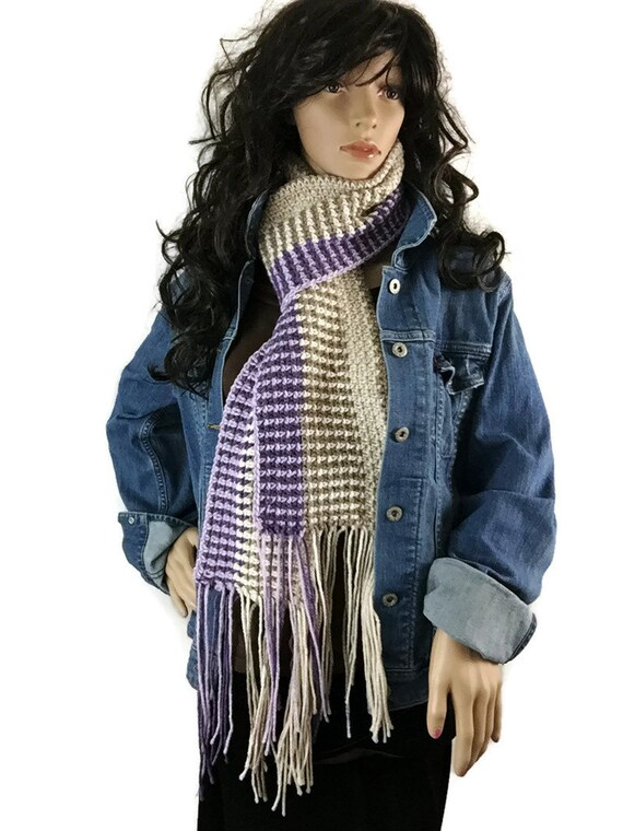 Scottish Long Fringe Winter Scarf - Tan Cream Purple Lavender - Gift Under 50 Chunky Outlander Knit Neckwarmer FREE SHIPPING CS17
