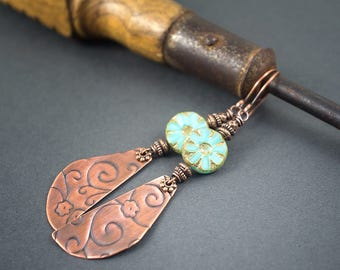 boho earrings • turquoise flower glass earrings • etched oxidized copper dangles • rustic earrings • hippie chic • scrolls • summer earrings