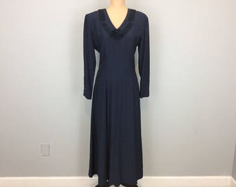 1930's Style Dress Navy Blue Wiggle Dress Fitted Maxi Dress Flare Skirt 90s Dress 1990s Dress Size 6 Dress Satin Trim Small Womens Clothing