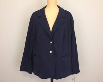 Nautical Clothing Vacation Beach Clothing Cruise Resort Wear Womens Jackets Blazers Navy Blue Crest Button Size 3X Womens Plus Size Clothing