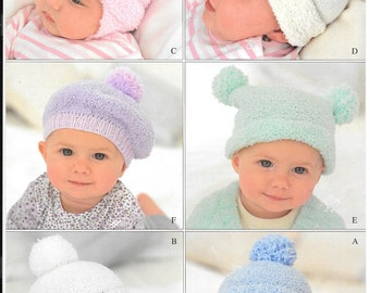 Knitting pattern for 6 different hats using Snuggly Snowflake DK - size 1 month - 6 years