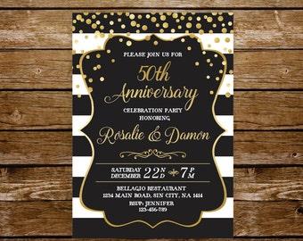 50 wedding anniversary invitation gold anniversary party 50th anniversary 40th black and white wedding surprise party invite printable 231