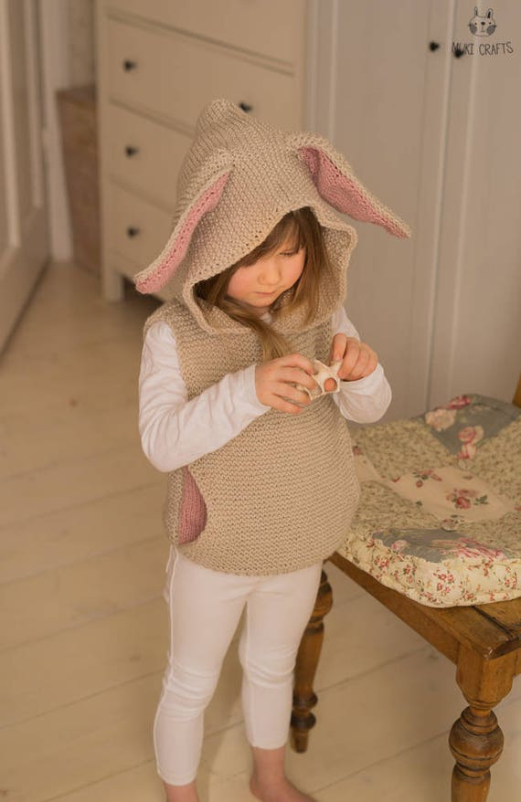 KNITTING PATTERN vest with hood pocket and bunny ears Flopsy (toddler and kids sizes)
