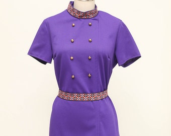 mod mini dress in purple with gold buttons vintage 1960s