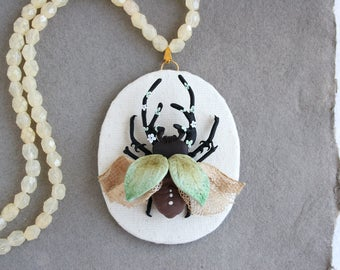 Beetle Necklace, Fairy Flower Necklace, Spring Necklace, Insect, Bug Magic Jewelry,  Artisan Jewelry,  Miracles, Wonder, Fairy Tale, Faerie