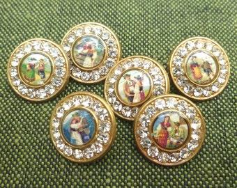 6 Dirndl buttons, gold colored, rhinestones, 1,5 cm, 0,59 inch, Bavarian motifs!