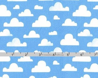 Blue Clouds Fabric, Cloud Quilt Fabric, Michael Miller Cotton CX7038 Cloudy, Sky Fabric, Cotton