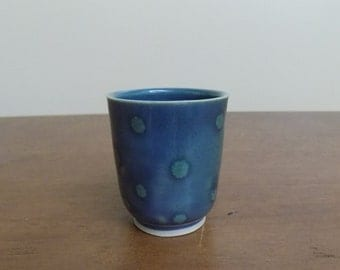 Wheel thrown, handmade ceramics, blue shot glass, polka dot barware, handmade pottery, unique gift for the home, blue shot glass