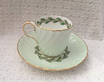 Minton Cheviot Green Demitasse, Laurel Pattern, Pattern #S503, Ivory with Green,  Green Inner Laurels, Scalloped, Swirled, Gold Trim