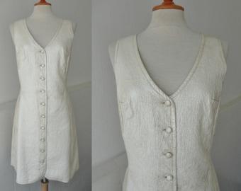 60s MOD Pearl White Vintage PVC Dress // GoGo Dress // Size M