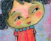 Who Me? original painting ACEO, mixed media