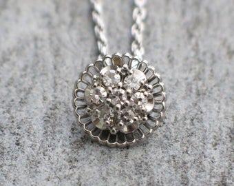 14K White Gold Art Deco Diamond Necklace