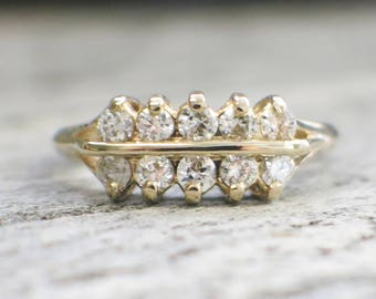 14K Yellow Gold Vintage Double Row Diamond Band Ring
