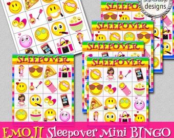 Emoji Sleepover BINGO Game, Instant Download, Emoji BINGO, Sleepover BINGO