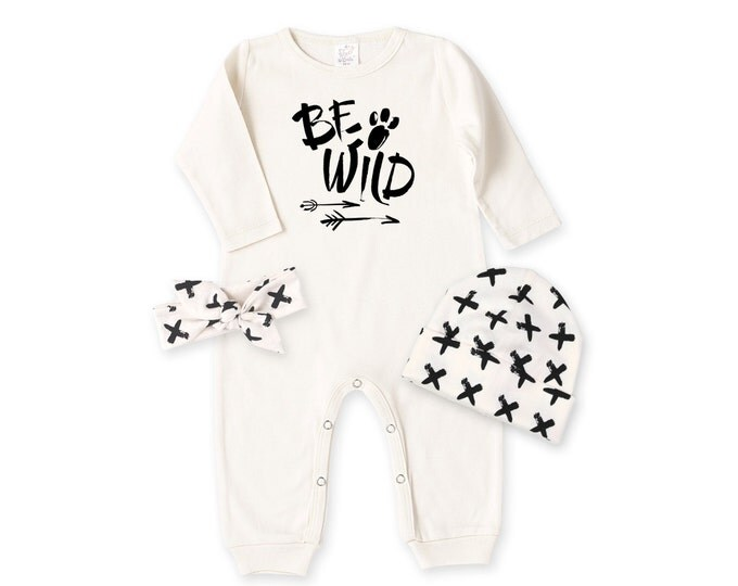 Newborn Boy Coming Home Outfit, Newborn Black White Outfit, Newborn Baby Be Wild Outfit, Black White Wild One Baby Bodysuit Outfit, TesaBabe